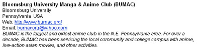 Otakon Website Community Clubs BUMAC